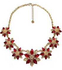 """charter club gold-tone crystal poinsettia statement necklace, 17"""" + 2"""" extender, created for macy's"""