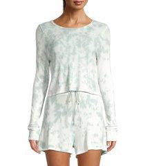 lucca women's waffe-knit tie-dye crop top - mint tie dye - size l