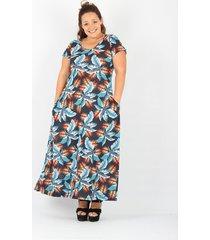 vestido azul minari hojas plus size