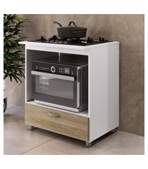 balcão p/ forno e cooktop 5 bocas completa móveis 1 gaveta amadeirada