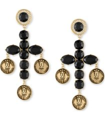 rachel rachel roy gold-tone stone cross coin drop earrings