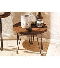 mesa lateral redonda iron com pé de ferro 300 havana-líder design