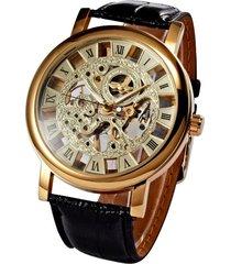 ganador del manual de diseño esquelético del reloj mecánico de cuero material del oro