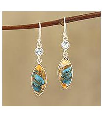 blue topaz and composite turquoise dangle earrings, 'elegance of the beach' (india)