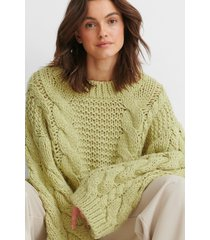 na-kd trend chunky cable knitted sweater - green