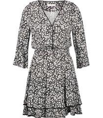 freebird mini dress 3/4 sleeve hazel black white zwart