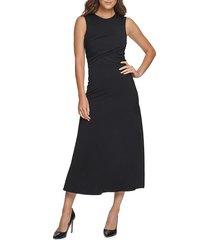 donna karan women's crossover mid-length dress - black - size s