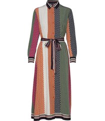 claudina drape midi dress jurk knielengte multi/patroon french connection