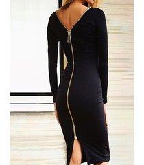 cremallera negra sin respaldo diseño ronda cuello manga larga vestido