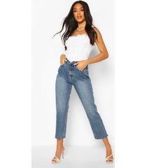 high rise straight leg jeans, mid blue
