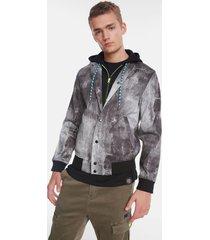 sport jacket with detachable plush piece - black - s