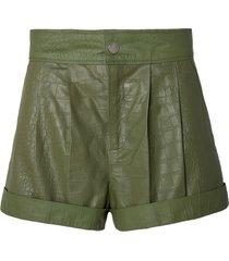shorts rosa chá crody couro verde militar feminino (verde militar, 50)