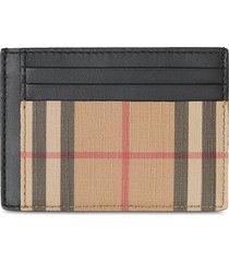 burberry vintage check and leather money clip card case - neutrals