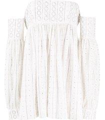 amen off the shoulder mini dress - white