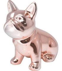 enfeite decorativo cachorro bulldog 13cm rose gold - ros㪠- feminino - dafiti