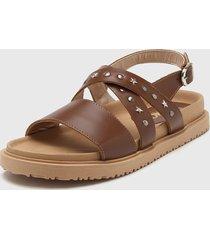 sandalia de cuero marrón viamo