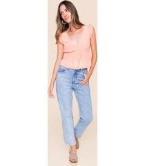 women's elie panel straight leg jeans in denim by francesca's - size: 30