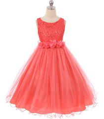 coral sequin top tulle flower girl dance holiday bridesmaid birthday party dress