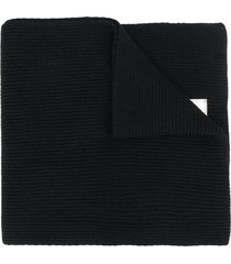 emporio armani ribbed knit scarf - black