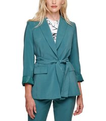 dkny petite one-button belted blazer