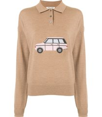 sandy liang polo shirt jumper - brown