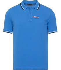 brand new mens prada turquoise signature cotton polo shirt