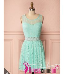 mint lace bridesmaid dress,short scoop mint green lace evening/party dresses q41