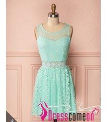 mint lace bridesmaid dress,short scoop mint green lace evening/party dresses q41