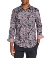 tallia men's slim-fit stretch elaborate paisley long sleeve shirt