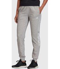pantalón de buzo adidas performance w bold block pant gris - calce regular