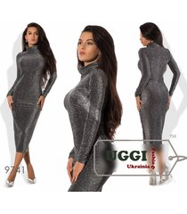 elegant bodycon woman dress knitted with lurex midi long sleeve cocktail -regula