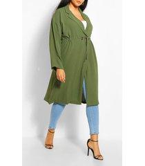 plus double breasted drawstring waist duster coat, khaki