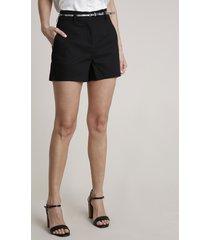 short feminino básico alfaiatado com cinto animal print preto