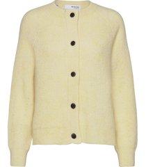 slflulu ls knit short cardigan b stickad tröja cardigan gul selected femme
