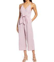 women's adelyn rae faux wrap crop jumpsuit, size x-small - purple