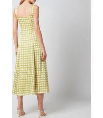 de la vali women's bandana midi dress - green polka dot - uk 10