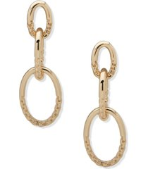 anne klein gold-tone textured chain-link drop earrings