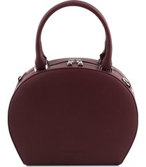 tuscany leather tl141872 ninfa - bauletto rotondo in pelle bordeaux