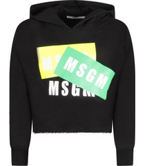 msgm black girl sweatshirt with white logos