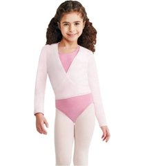 capezio little and big girls wrap top long sleeve wrap top with self tie