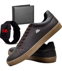 sapatênis sapato casual com carteira e relógio led dubuy t10db marrom