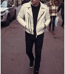 mens fashion leather jacket, men genuine leather white biker jacket, mens jacket