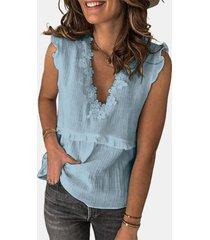 camicetta casual senza maniche patchwork di pizzo a uncinetto per donna