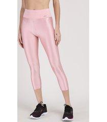 calça corsário feminina esportiva ace texturizada rosa claro