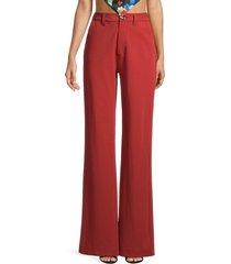 danielle bernstein women's classic wide-leg trousers - matisse blue - size 14