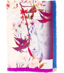 franco ferrari floral print multicolor wool silk shawl multicolor/floral print sz: