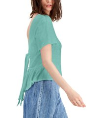 inc cotton tie-back ruffled top, created for macy's