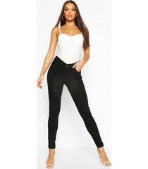 high rise 5 pocket skinny jeans, black