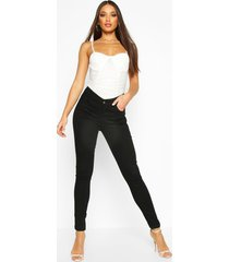 high rise 5 pocket skinny jeans, black