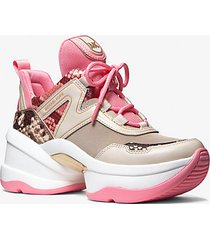 mk sneaker olympia bicolore in tela e pelle stampa pitone - pink shell multi - michael kors